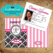 Pink Damask Passport - Paris Quinceanera Invitations