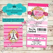 Pink Gold Reception Pass Quinceanera Invitations