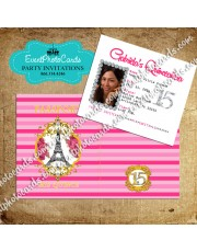 Stripes Pink & Gold Passport  Quinceanera Invitations