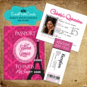 Paris Pink Passport Quinceanera Invitations