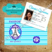 Stripes Aqua & Purple Passport Quinceanera Invitations
