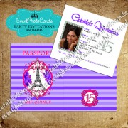Stripes Purple & Pink  Passport Quinceanera Invitations