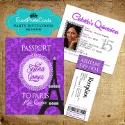 Paris Purple Passport Quinceanera Invitations