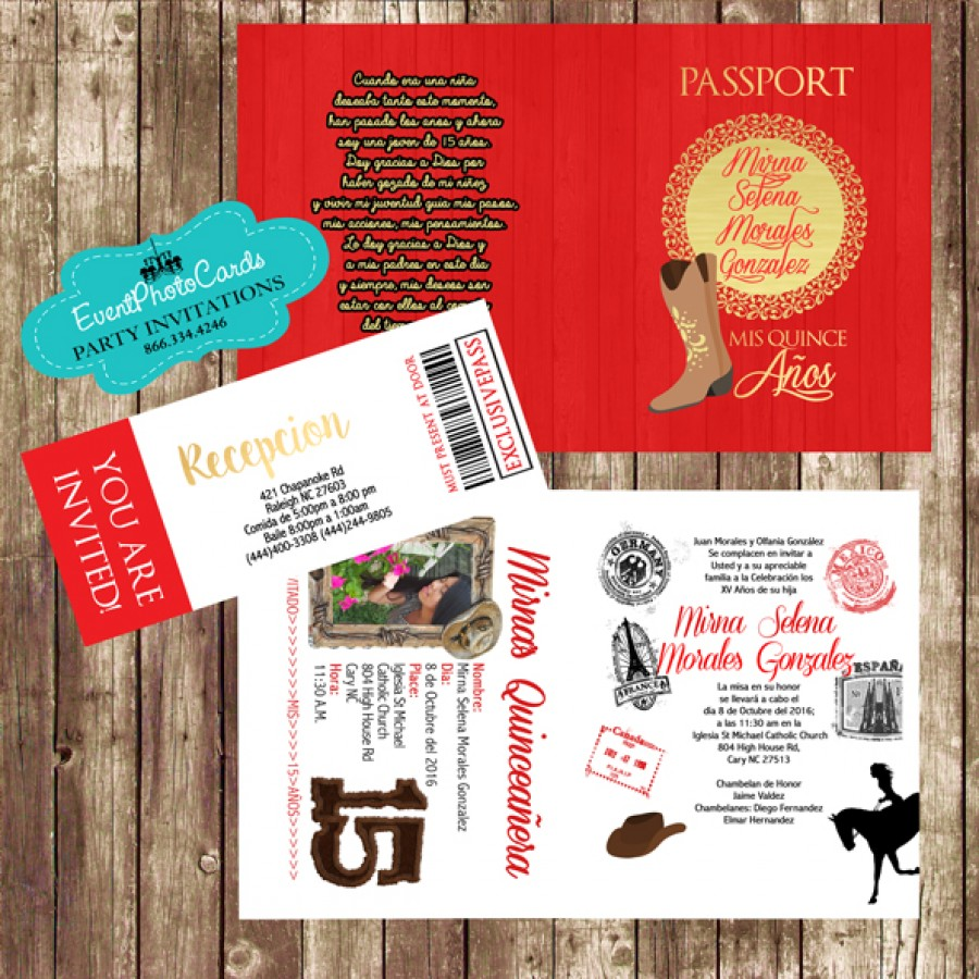 Red and Gold Western Charro Passport Quinceanera ...
