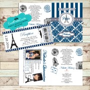 Royal Blue Paris Eiffel Tower  Passport  Quinceanera Invitations