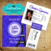 Paris Royal Purple Passport Quinceanera Invitations