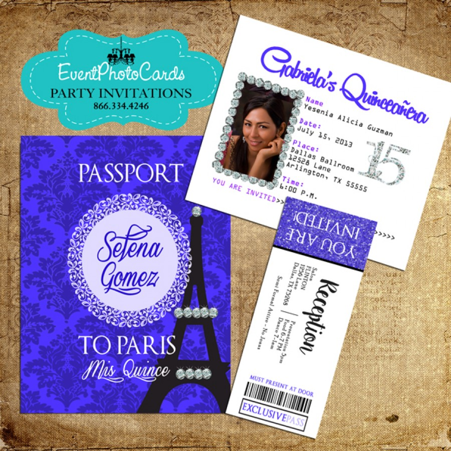Paris Royal Blue Invitations with Ticket Reception Pass