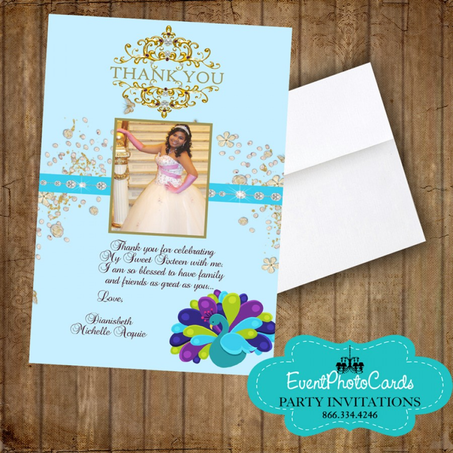 Peacock Aqua Thank You Card Sweet Fifteen Photo