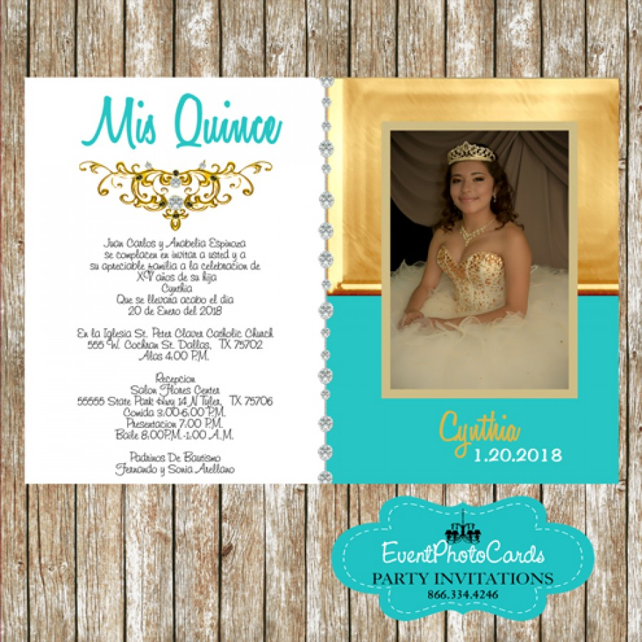 Teal & Gold 15th Birthday Photo Invitations Party, Sweet 16 or Bat ...