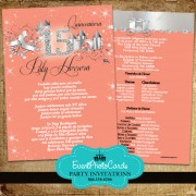 Coral Peach Quinceanera Invitations - Princess