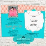 Coral and Aqua Quinceanera Invitations B