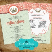 Mint Green Coral Quinceanera Invitations - Tiara