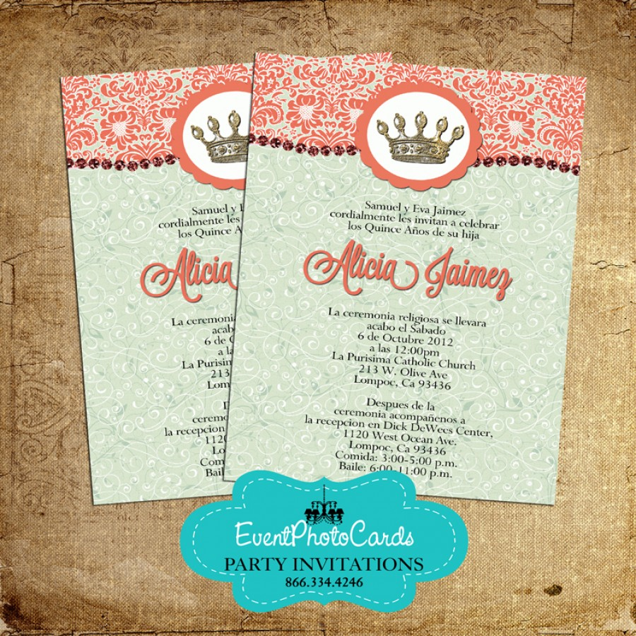 mint and coral quinceanera invitations