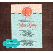Coral Mint Invitations - Eiffel Tower