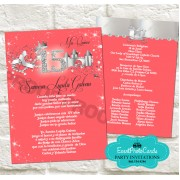 Coral and Silver Quinceanera Invitations 2