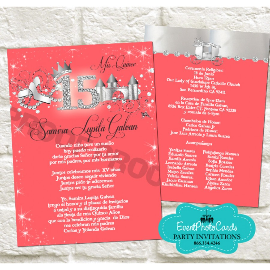 order our new design coral and silver quinceanera invitations that