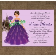 Doll Quinceanera Invitations - Dark Purple