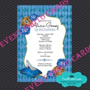 Princess Blue Glass Slipper Sweet 15 Invitations