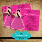 Magenta Quinceañera Invitations with Doll