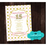 Polka Princess Birthday Party Invitations - Sweet 15