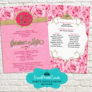 Pink Gold Quinceanera Invitations - Princess