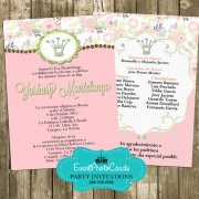 Light Pink Green Quinceanera Invitations - Princess