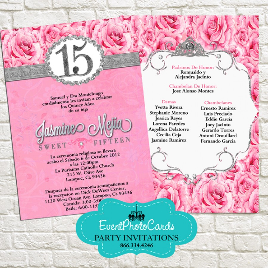pink silver quinceanera invitations