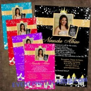 Fairytale Princess Quinceanera  Invitation Gold P45G