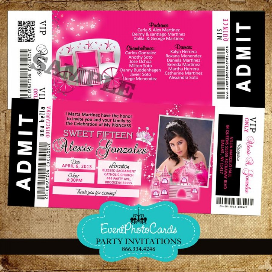 Quince Ticket Invites Sweet 16 Pink Photo