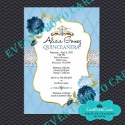 Princess Theme Sweet 15 Invitations - Baby Blue