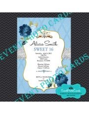 Princess Theme Sweet 16 Invitations - Baby Blue