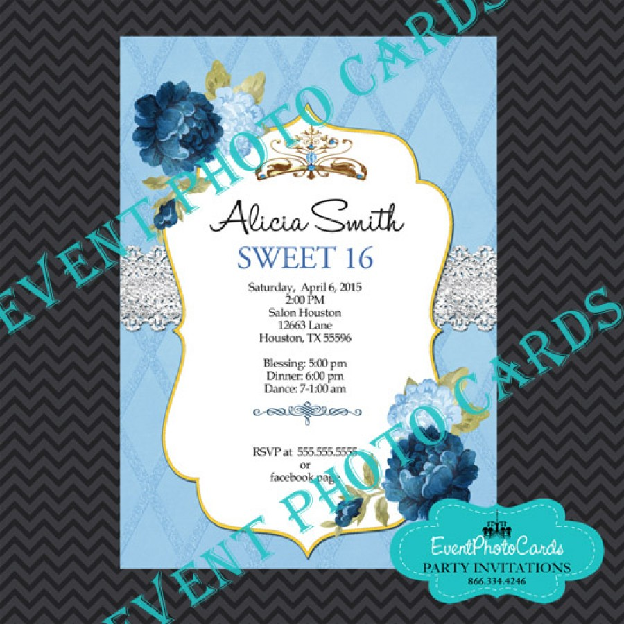 Princess Theme Sweet 16 Invitations Floral Watercolor