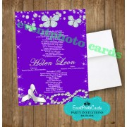 Princesss Butterfly Purple Quinceanera Invitations