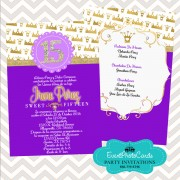 Purple Gold Royal Quinceanera Invitations