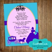 Princess Cinderella - Teal & Aqua Quinceanera Invitations