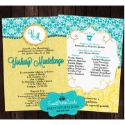 Teal & Yellow Quinceanera Invitations - Tiara Princess