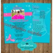 Turquoise Pink Princess Quinceanera Invitations
