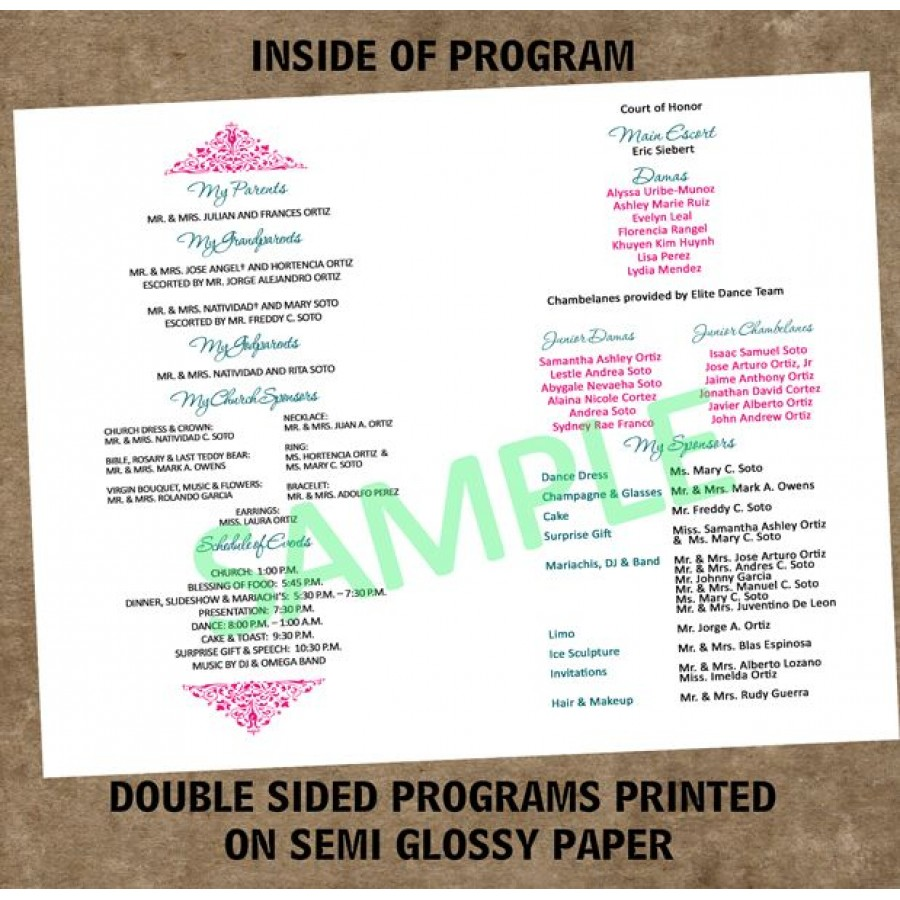 Teal quinceanera program for Sweet sixteen program template