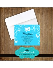 Aqua Butterfly Reception Card