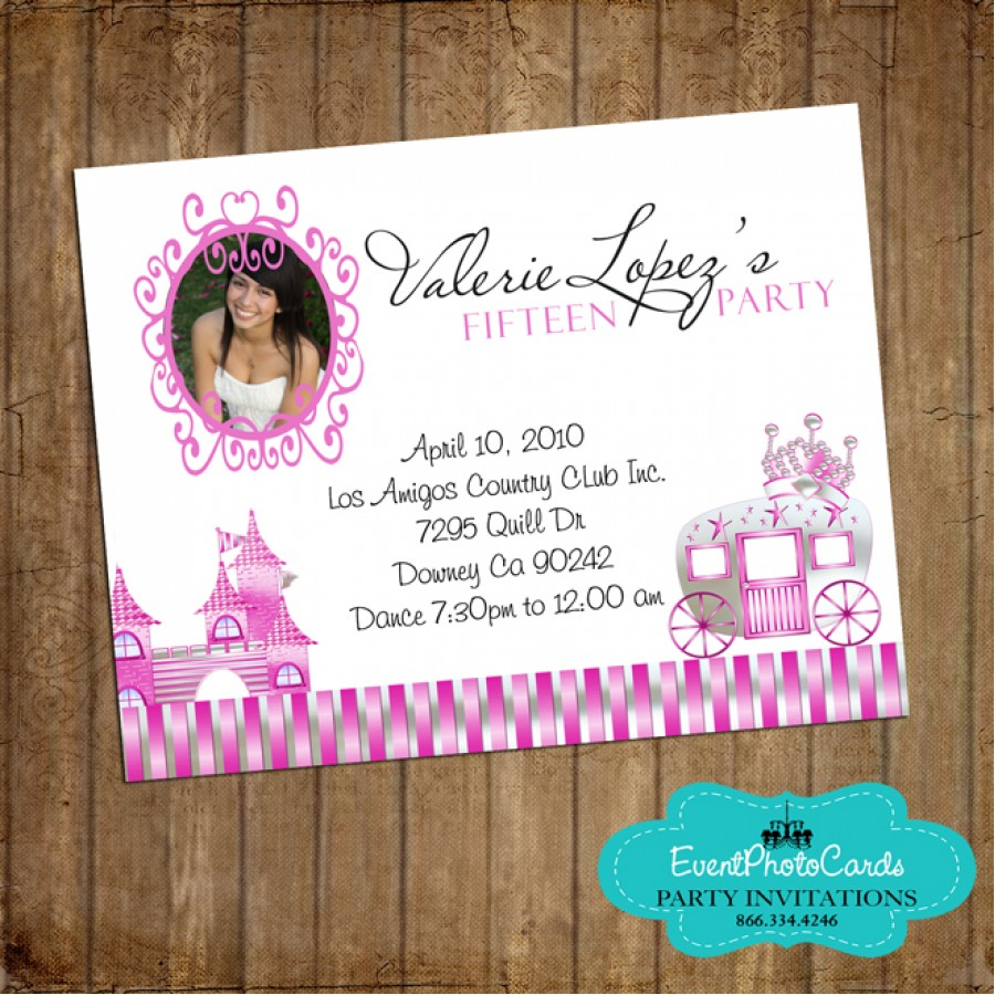 Pink quinceanera card princess pink quinceanera card m4hsunfo Image collections