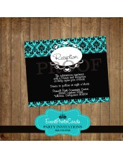 Teal Damask Reception Card