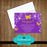 Yellow Purple Butterfly Reception Card