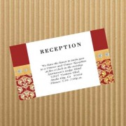 Burgundy Gold Mask Reception Card