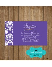 Damask Purple Reception Card
