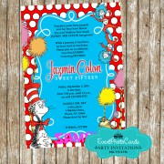 Dr Seuss Quinceanera Birthday Invitations