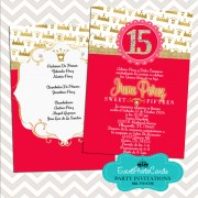 Red & Gold Quinceanera Invitations