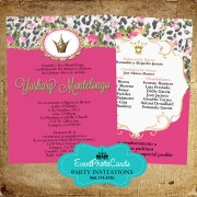 Pink & Green Floral Princess Quinceanera Invites