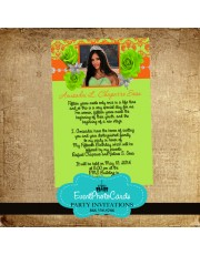 Lime & Orange Roses Quinceanera Invitations