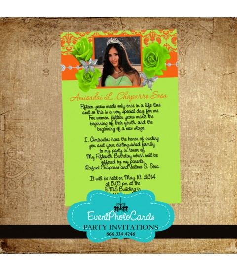 Lime & Orange Roses Invitations   Quinceanera Invitations