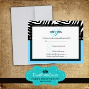 Baby Blue Zebra RSVP Card